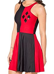 Women's Geometric Printed Stretchy Sleeveless Pleated Fit and Flare Skater Dress
