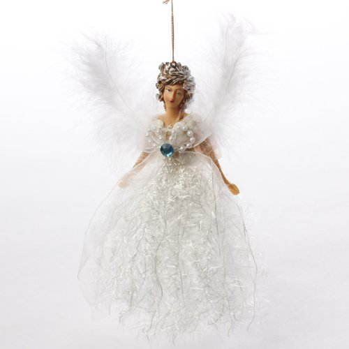 Group of 6 Sparkling Victorian Angel Ornaments with Resin Face and Hands and Feathery Wings