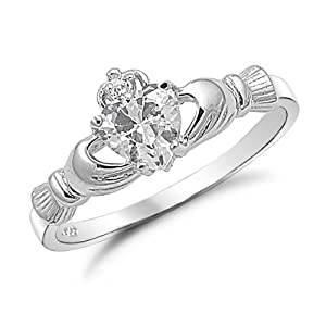 Sterling Silver Heart Shaped CZ Claddagh Ring Sizes 4 to 9