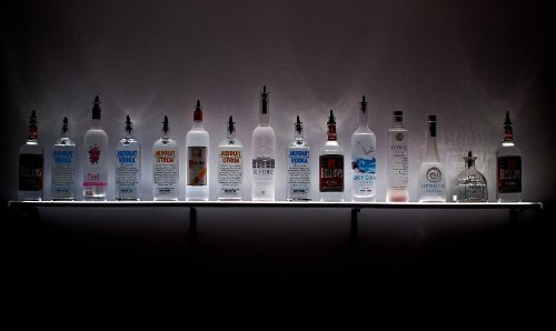 3 Ft - Wall Mount Kit Acrylic Bottle Shelf Holds Up To 9 Liquor Bottles