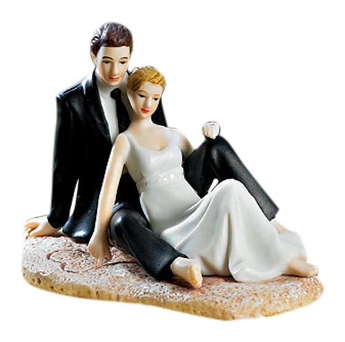 Wedding Couple Lounging on the Beach Cake Topper Figurine