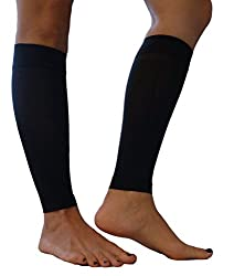 Maternity Compression Leg Sleeves by My Bella MamaTM - Made in USA (Medium, Black)