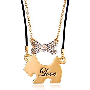 Pugster 2 Pieces of Puppy Bowknot Clear Crystal Love Couple Pendant Gold