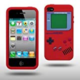 "Iprotect ORIGINAL APPLE IPHONE 4 / 4S GAMEBOY RETRO SILIKONH�LLE MIT KN�PFEN IN ROT // CASE TASCHE H�LLEvon ""iprotect"""