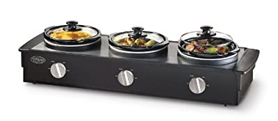 Nostalgia Electrics 2.5 Qt Triple Slow Cooker Buffet by Nostalgia Electrics