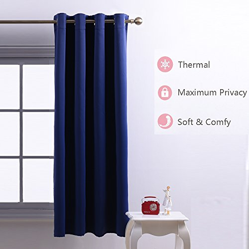 Nicetown Room Darkening Blackout Curtains Window Panel Drapes - (Navy Blue Color) 1 Panel, 52 inch wide by 63 inch long each panel, 8 Grommets / Rings per panel (Color Drapes compare prices)