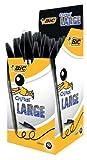 BIC Kugelschreiber Cristal Large, mit Kappe, Strichstärke 1.6 mm, Schachtel à 50 Stück, schwarz