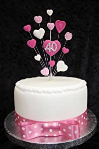 Cake Images Dow : 40th Birthday Cake Topper Pinks And White Hearts Suitable ...