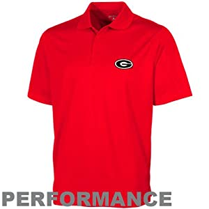 NCAA Antigua Georgia Bulldogs Pique Xtra-Lite Performance Polo - Red by Antigua