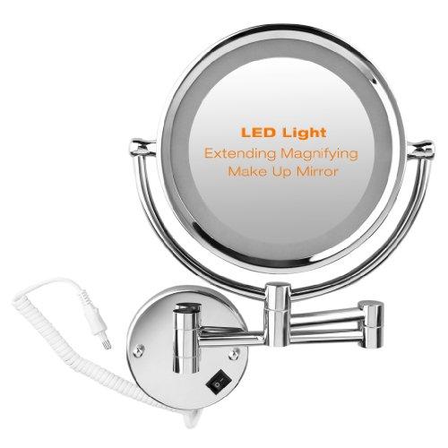 Espejo-de-Bao-Pared-10X-Ampliacin-85-Pulgadas-Doble-Cara-360-Grados-Giratorio-Luz-LED-para-Cosmtica-Afeitar-Plateado