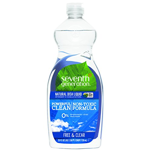 Seventh Generation Natural Dish Liquid, Free & Clear Unscented, 25-Ounce Bottles (Pack of 6), Packaging May Vary (Seventh Dishwasher Detergent compare prices)