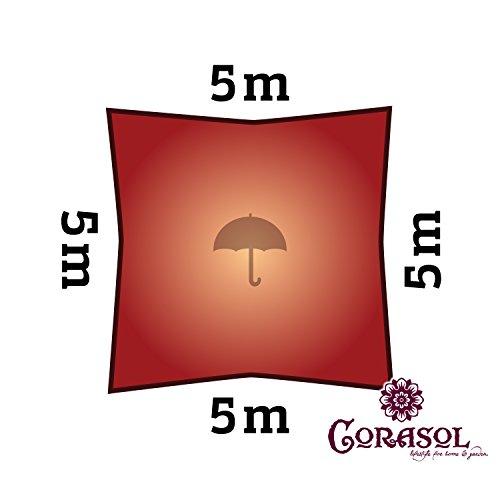 Corasol COR11SQ5-RR - Vela de sombra para patio (resistente al agua), color rojo, 5 x 5 m