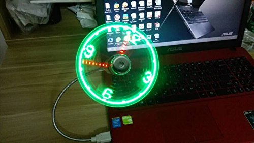ONETWO®USB LED Clock Fan with Real Time Display Function, Silver