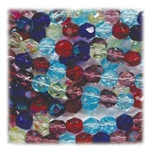 "Czech Fire Polish Glass Beads 4mm Round ""Gemtones"" Purple Sapphire Peridot Mix (100 Beads)"