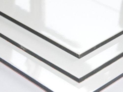 Aluminium Verbundplatte - 2mm - WEISS/GLANZ - 0,2mm - 200mm x 200mm