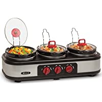 Bella 3x1.5 Quart Triple Slow Cooker With Lid Rests (Stainless/Black)