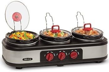 Bella 3x1.5 Quart Triple Slow Cooker w/ Lid Rests