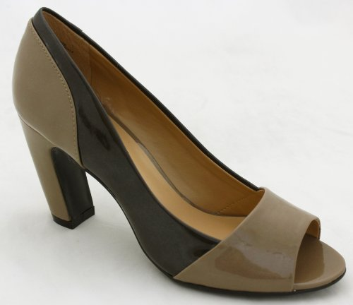 Mootsies Tootsies Headtotoe Womens Peep Toe Pumps Taupe Dk Brown Sy 10