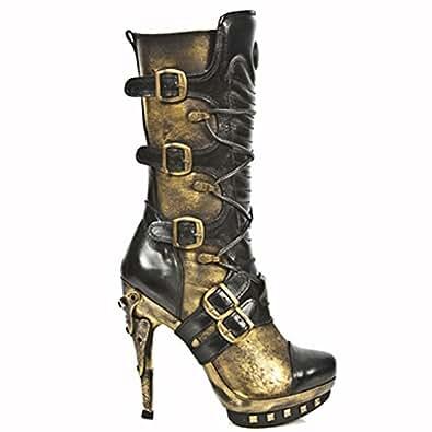 Cool New Rock Boots Tall Milliatary MNEWMILI19S1 Black
