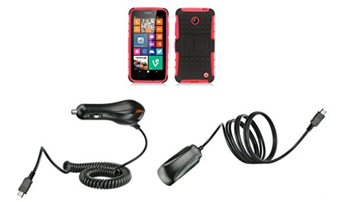 Nokia Lumia 635 (At&T, T-Mobile) / Nokia Lumia 630 (Cricket) - Black And Red Pathfinder Dual Hybrid Armor Case + Atom Led Keychain Light + Wall Charger + Car Charger