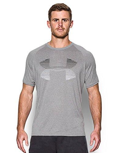 Under Armour Men's Tech Horizon Logo T-Shirt, True Gray Heather (025), Small