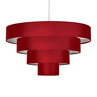 MiniSun Modern 4 Tier Red Fabric Ceiling Pendant Light Shade