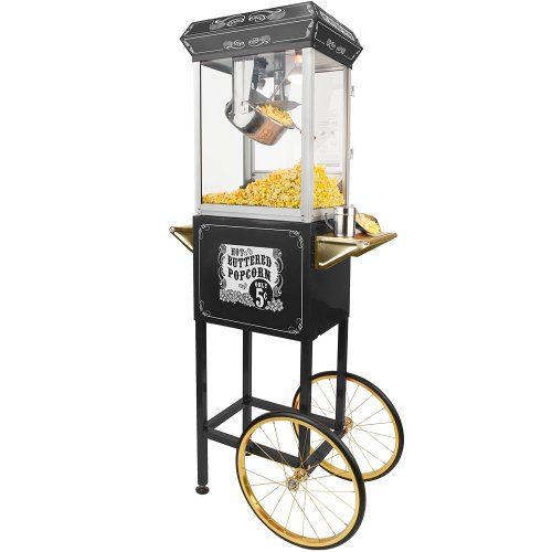 FunTime Sideshow Popper 8-Ounce Hot Oil Popcorn Machine with Cart, Black/Gold (Black Max Popper compare prices)