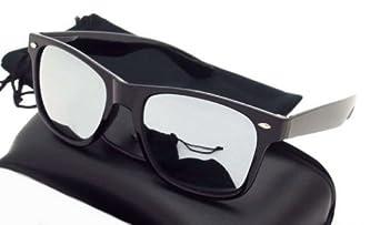 Lunettes de soleil style Wayfarer - Geek Retro Vintage 80's - Verres effet miroir - Monture Noir - Fashion Tendance