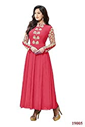 Rajnandini Women's Faux Georgette dark pink anarkali style gown with Emboidery Anarkali Suit- Dress Material