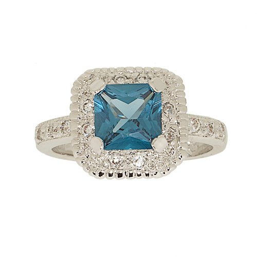 Classic Engagement Style Ring in Princess Cut Blue Zircon and CZ Size 9