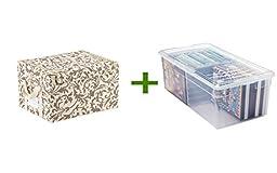 reisenthel Medium Fabric Storage Box Baroque Latte, Media Box Clear
