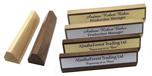 Premium-Executive-Hartholz-Walnuss-und-Ahorn-personalisierbar-durch-Gravur-Schreibtisch-mit-Namensschild-Zeichen-fr-den-Schreibtisch-mit-AJintheForest--TM