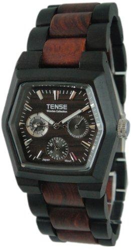 Tense Two-Tone Sandalwood Mens Triple Dial Hexagon Wood Watch Dark/Sandalwood G8303DS (Dark Faced)