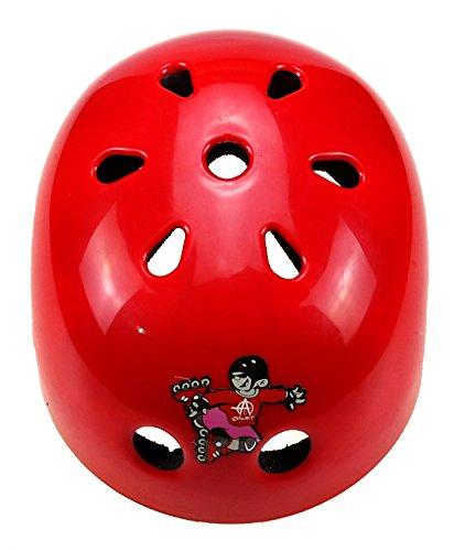 7 Piece Children's Skateboard Helmet Knee Elbow Wrist Pads Set (Red)
