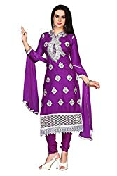 Shopping Point Purple Cotton Anarkali Unstitched Dress Material