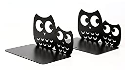 Sharing Star One Pair Novelty Owl Shaped Library School Office Home Study Metal Bookends Nonskid Bookends Bookend Art Gift Art Bookend (Black)
