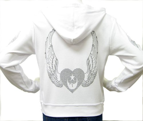This womens hoodie features a rhinestone crystal Heart with Angel Wings