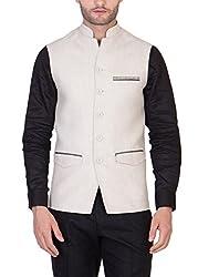 Desam Men's Natural Pure Linen Waistcoat,Size 39