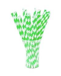 niceeshop(TM) 1 Pack(25 pcs)Biodegradable Reusable Environmental Paper Striped Party Straws-Green White