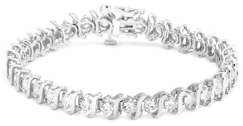 "10.00 Ctw Princess Cut Diamond Tennis Bracelet 14K White Gold Finish 7/"""