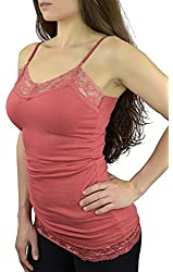Belle Donne- Womens Cami Dress Spaghetti Adjustable Straps Lace Trim Solid Camisole