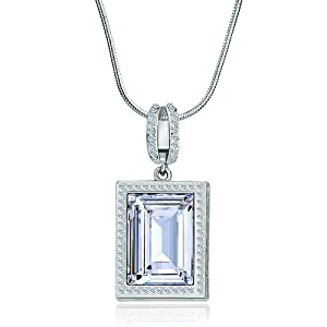 Pugster Silver Rectangle Pattern Hollow Heart April Birthstone Clear Swarovski Crystal Pendant Gift
