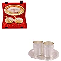 Silver & Gold Plated 2 Heavy Flower Bowl With Spoon And Tray And Silver Plated 2 Premium Glass Set With Oval Tray