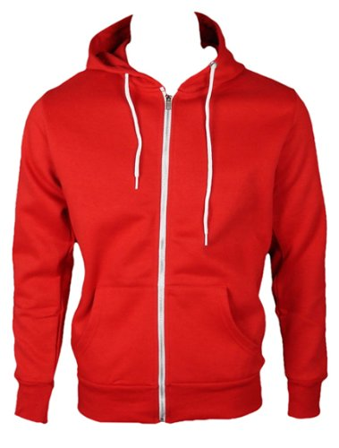 The Home of Fashion Mens Fleece Lined Hooded Jumper-XS -Red