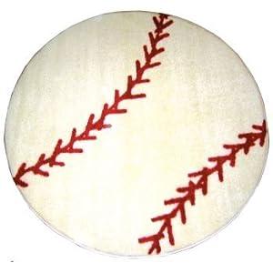 LA Rug Baseball 39-Inch Nylon Round Rug by LA Rug Co