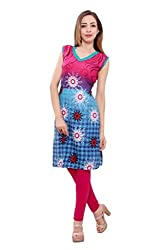 Kurti Studio Festive Rani Blue Unstitched Cotton Kurti Dress Material