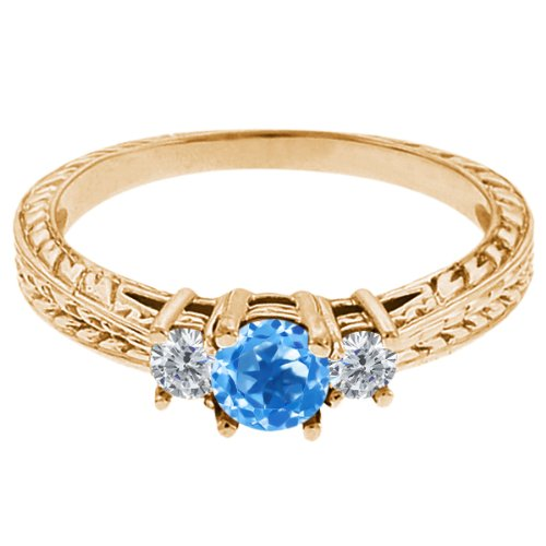 0.57 Ct Round Swiss Blue Topaz G/H Diamond 18K Yellow Gold 3-Stone Ring