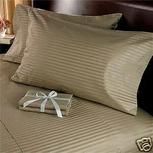 Royal Hotels Stripe Brown 1200-thread-count 4pc Olympic Queen Bed Sheet Set 100-percent Egyptian Cotton Sateen Stripe Deep Pocket 1200 Tc from Royal Hotel Bedding