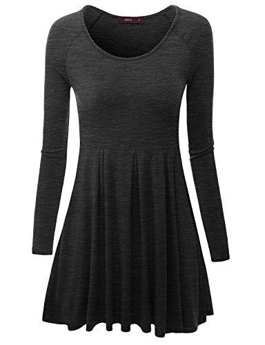 Doublju Womens Long Raglan Sleeve Scoop Neck Flare Tunic Top CHARCOAL LARGE