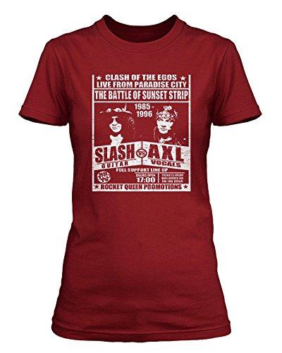 Guns n Roses inspired Slash v Axl fight poster T-shirt, Donne, Medium, Kremlin Red